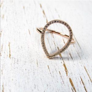 Rose Gold Sterling Silver Teardrop Ring